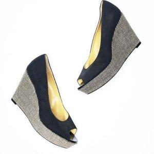 NINE WEST Black Tweed Peep-Toe Platform Wedges